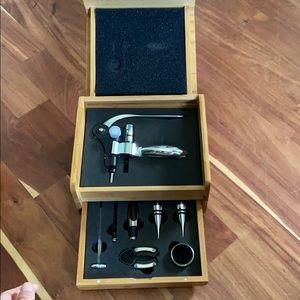 BNIB wine opener set in bamboo box